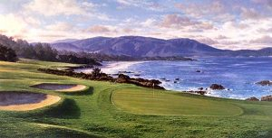Larry Dyke - Pebble Beach print of golf course next to beach and mountains