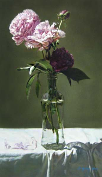 Fengming Ding painting of Peonies in a vase on a white tablecloth
