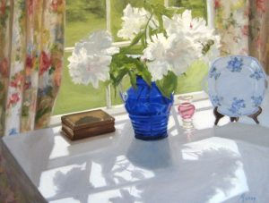 Mary Mabry Traditional Realist Oil Painting on Canvas of White Peony Flowers in a Blue Glass Vase in Window