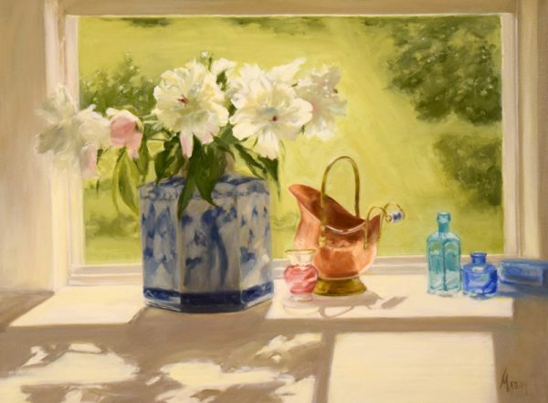 Mary Mabry Still Life Oil Painting with Peony Flowers and a Copper Basin
