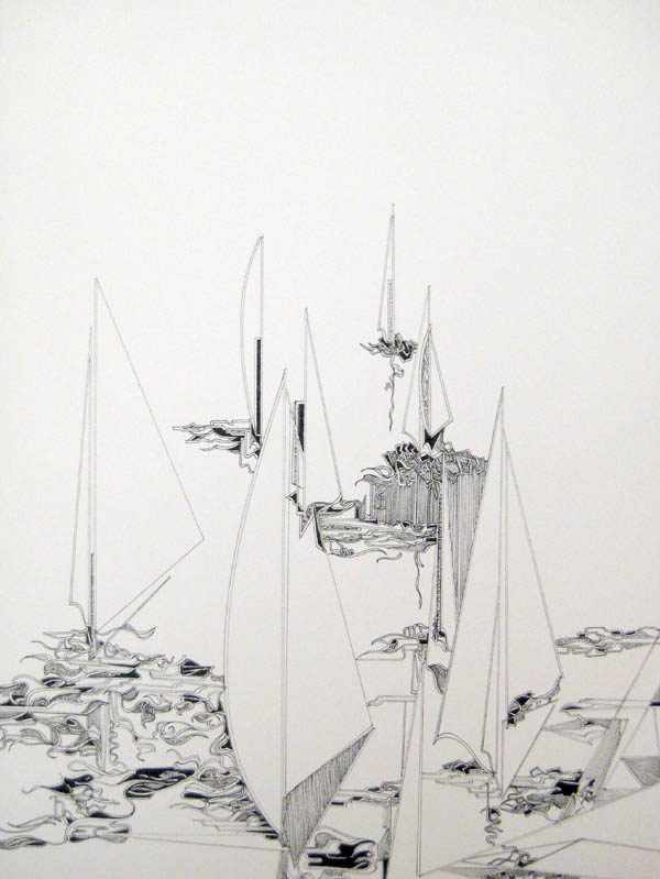 Gary Smith Pen and Ink on Paper of Abstract Stylized Sailboats on Water