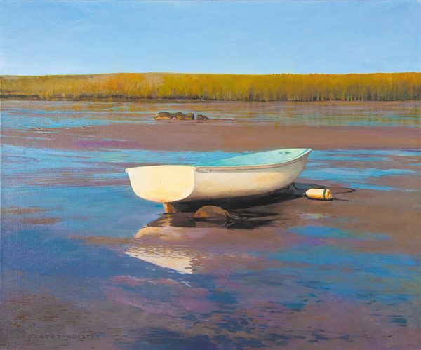 Robert Bolster Traditional Boat on Beach at Low Tide