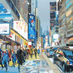 Josef Kote Perfect Place Original Acrylic on Canvas - Contemporary Impressionism of Times Square in Blue and Gray