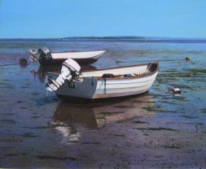 Periwinkle Afternoon - realistic painting of boats on beach