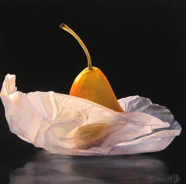Lorena Pugh Oil Painting of Pear Wrapped in Tissue Paper