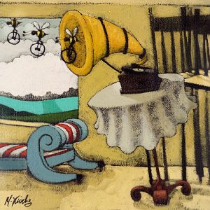 Matt Lively oil painting on paper with old style phonograph
