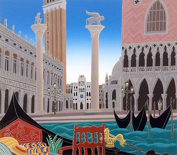 Thomas McKnight - Piazza San Marco print of city square by water with gondola and statues