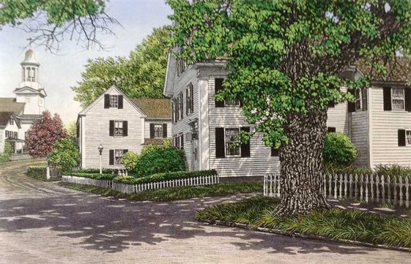 Carol Collette etching on paper of rural farm house in country neighborhood with picket fence
