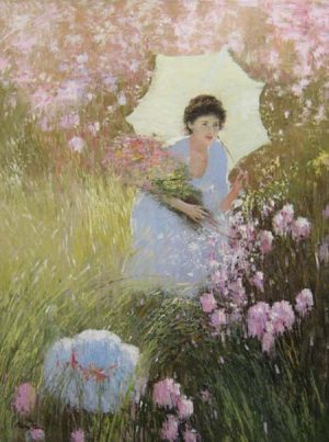 Hans Amis An He Picking Flowers painting of girl in white dress with parasol among field of pink flowers