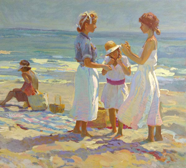Don Hatfield - Picnics print of three girls standing near a basket and a boy sitting on a towel near two bags on the beach