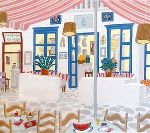 Thomas McKnight - Pierott's print of restaurant in Greece