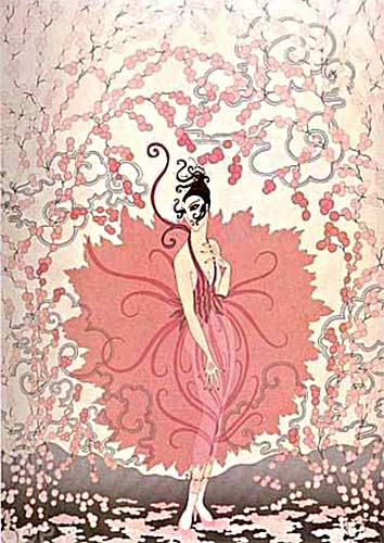 Erte - Pink Lady print of woman in pink dress surrounded by cherry blossoms