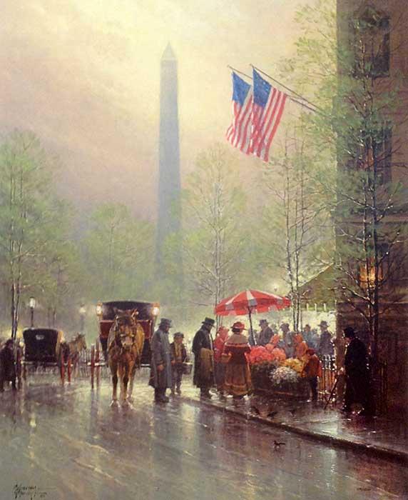 G Harvey - Pinnacle of Freedom print of Washington Monument behind busy street