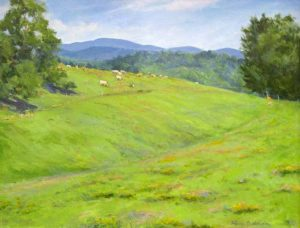 Hilary Baldwin Oil Painting of Landscape of Green Grass Valley