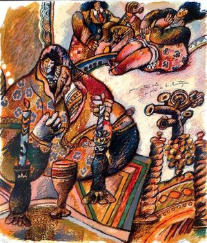 Theo Tobiasse - Poeme a Trois Voix 1 judaica print of woman with candles and cups and musicians