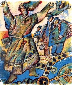 Theo Tobiasse - Poeme a Trois Voix 2 judaica print of woman dancing infront of other people and angel
