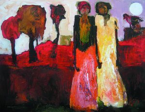 Goli Mahallati - Poetic Moment print of two people and red trees