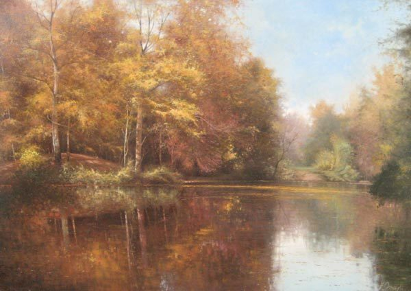 Fortunato Ornaghi Soft Pond Oil Painting with Autumnal Foliage