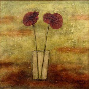 Sara Rosen encaustic painting of poppies in vase