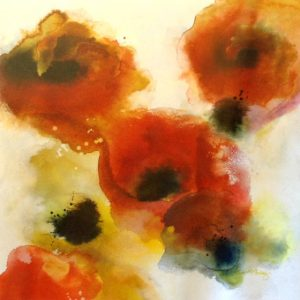 Dennis Smith Carney Abstract Floral Poppies Flowers in Red and Green and Black