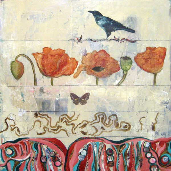 Janette Staley Surreal Oil Painting of Red Orange Poppies with Butterfly and Bird