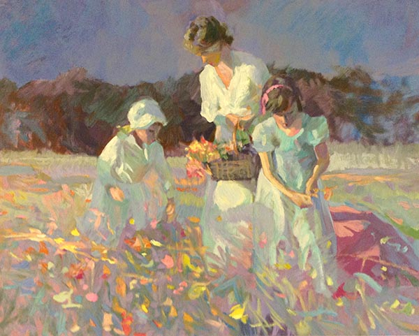 Don Hatfield - Poppy Meadow print of woman and two young girls picking flowers