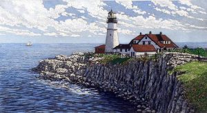 Carol Collette etching on paper of light house on rock ledge in Portland Maine coast