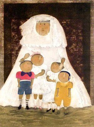 Graciela Boulanger - Portrait de la Marie print of bride with four children