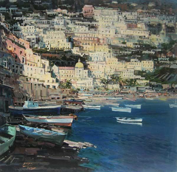 Painting of the amalfi coast in positano Italy