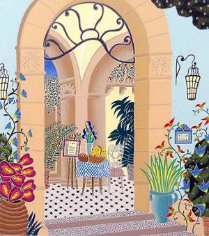 Thomas McKnight - Positano Restaurant print of entryway with plants