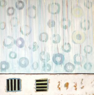 Laurie Goddard Abstract Contemporary Painting of Blue and White Dots with Black and Gold