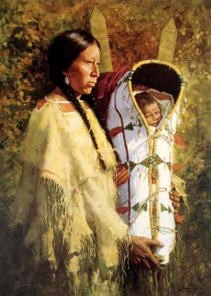 Howard Terpning - Pride of Cheyenne print of Native American mother holding infant in carrier