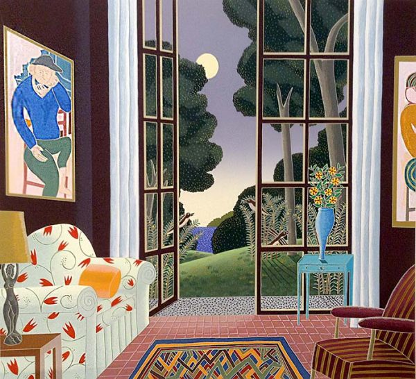 Thomas McKnight - Princeton print of living room with large painting and door leading to garden