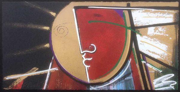 Orlando Agudelo Botero Privilegio Contemporary figurative painting with red and black