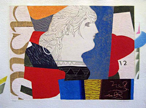 Max Papart - Profile Lady (23x30 carborundum etching) Contemporary etching with a sculptural profile