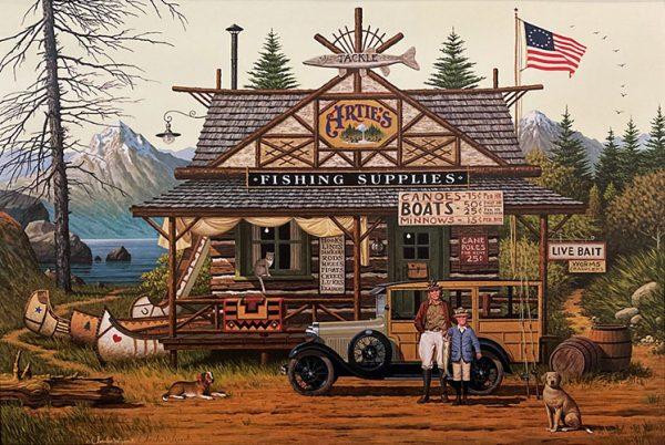 Charles Wysocki - Proud Little Angler folk art print of fishing cabin on Walnut Lake in Michigan