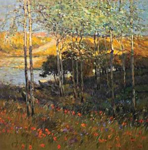 Omar Hamdi Malva - oil painting of a colorful field near water with trees