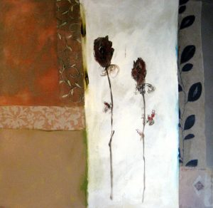 Painting of flowers in an abstract setting
