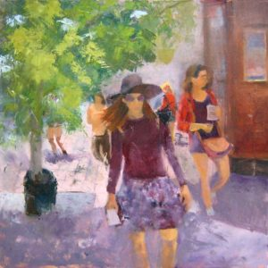 Pat Foster Contemporary Figurative Oil Painting of Woman in Purple Clothing
