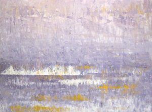 Leah Mitchell Purple White Oil Painting of Contemporary Seascape at Sunset Twilight