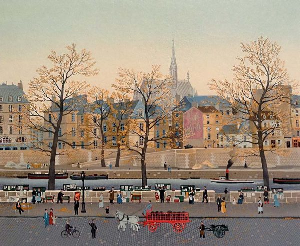 Michel Delacroix - Quai der Orfueres print of french town with river