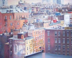 Barbara Johnson Realism Traditional Oil Painting of Boston Beacon Hill Buildings