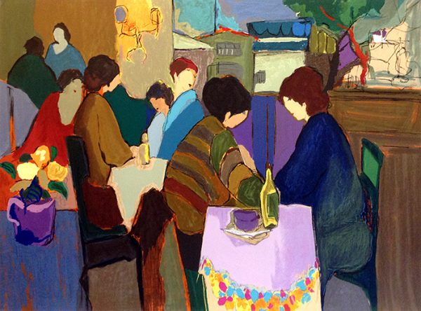 Itzchak Tarkay - Quiet Afternoon print of people sitting at an outdoor cafe