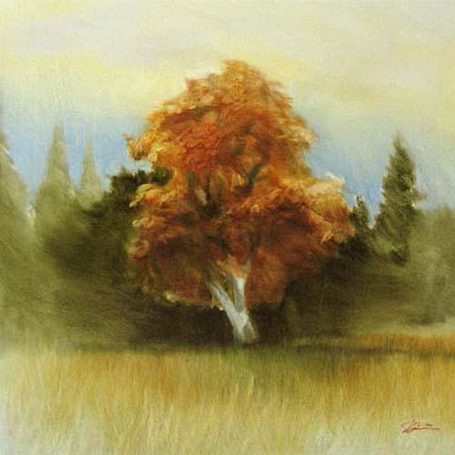 Jeffrey Surret Painting of a single orange tree