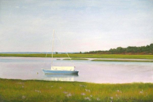 Hilary Baldwin Oil Painting Quiet Morning Wellfleet with Boat on Marsh