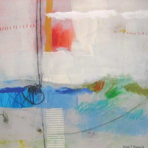 Ursula Brenner Contemporary Abstract Oil Painting on Paper in Rainbow Red Blue Green Orange Gray