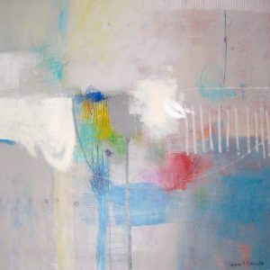 Ursula Brenner Abstract Oil Painting on Canvas with Colorful Lines and Shapes