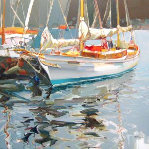 Josef Kote Original Rather Be - Acrylic Contemporary Impressionist Painting on Canvas of Blue Water and Boat