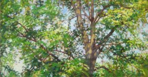 Lynne Adams reaching oil on canvas of tree tops with green leaves