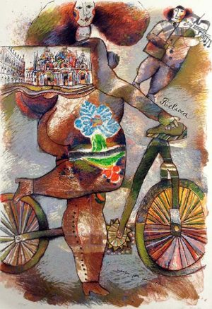 Theo Tobiasse - Rebecca judaica print of woman on bicycle and man playing violin